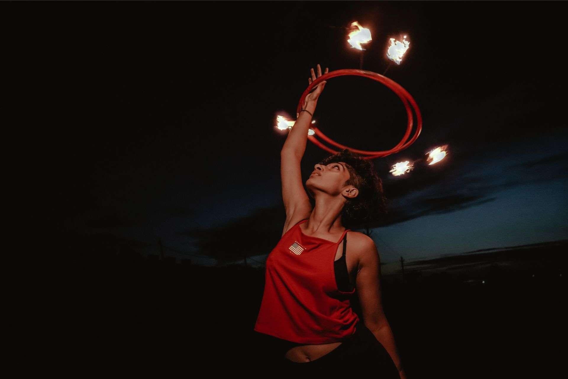 Fire hoop dance red night sky flow