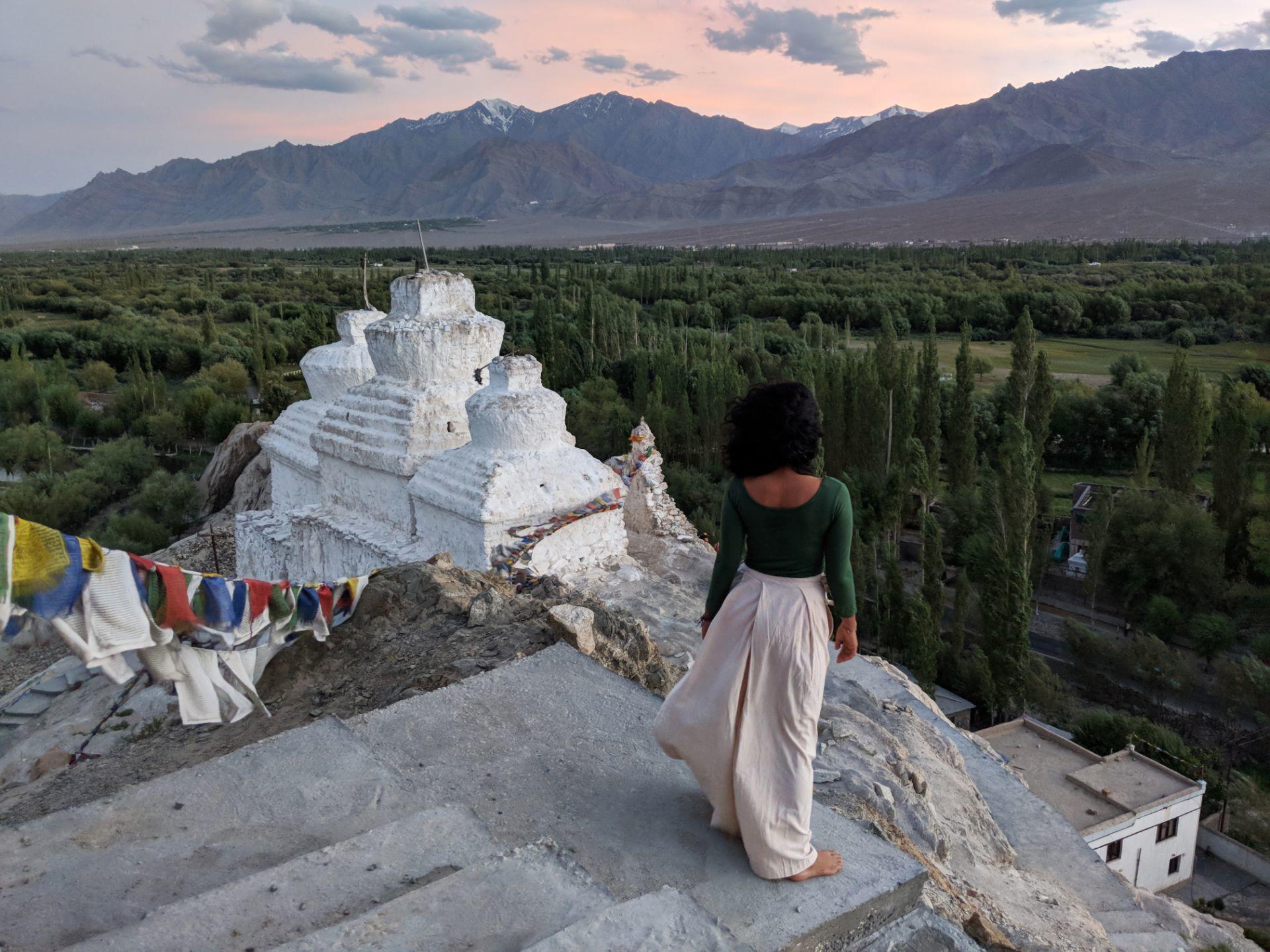 Ladakh posing green fashion winter