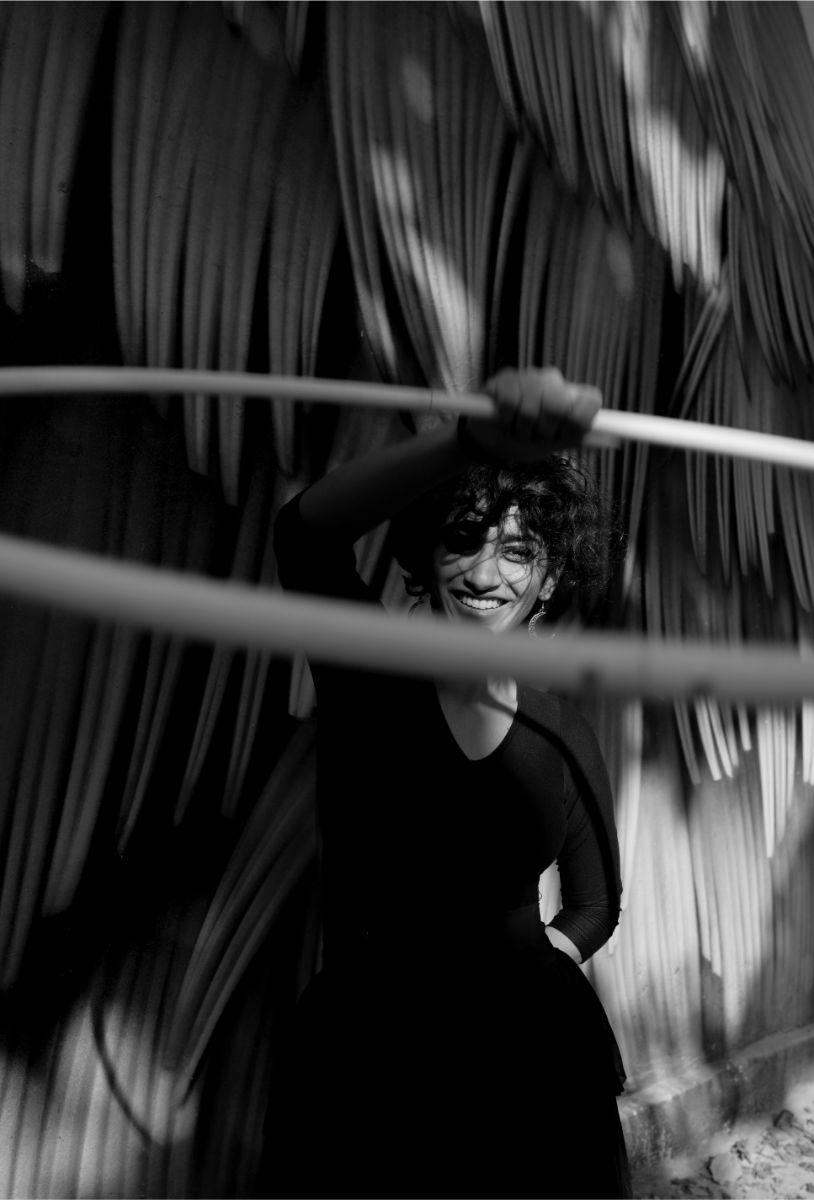 Flowing dance movement hula hoop black smile